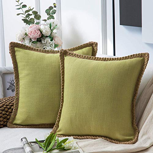Phantoscope Pack of 2 Christmas Farmhouse Decorative Throw Pillow Covers Burlap Linen Pillow Covers Trimmed Tailored Edges Water Green 24 x 24 inches, 60 x 60 cm