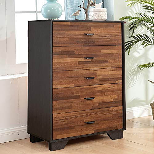 Henf 5 Drawers Dresser, Modern Espresso Chest of Drawers, Dresser Chest with Wide Storage, Functional Clothes Organizer with Solid Wood Frame for Bedroom, Living Room, Closet, Entryway, Hallway