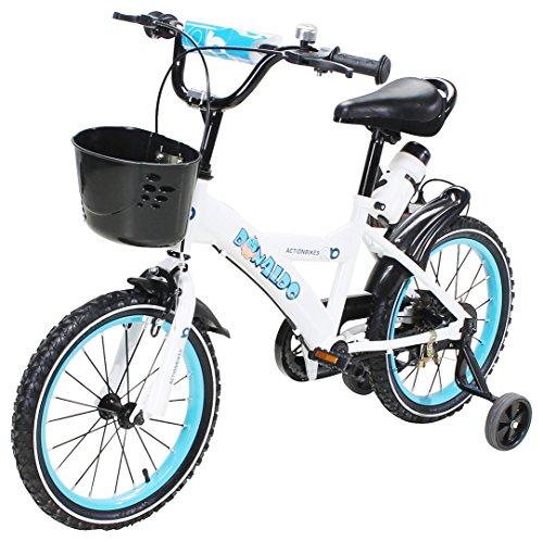 Actionbikes Kinderfahrrad Donaldo - 16 Zoll - V-Break Bremse vorne - Stützräder - Luftbereifung - Ab 4-7 Jahren - Jungen & Mädchen - Kinder Fahrrad - Laufrad - BMX - Kinderrad (16`Zoll)