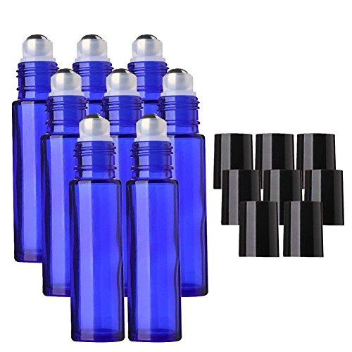 MINGZE 8 piezas 10ml Botellas de vidrio azul con bola de metal de acero inoxidable, Botella de aceite esencial Roll-on, Perfume de aromaterapia, de rodillo para líquido