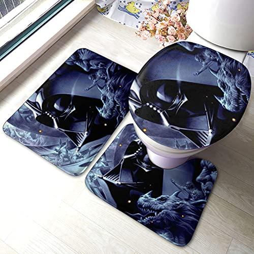 Star Darth Vader Wars - Alfombrilla antideslizante para baño (3 juegos) (microfibra suave, absorbente, gruesa, cómoda y cómoda, cubierta de inodoro en forma de U