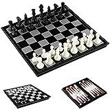 Lixada チェスセット3-in-1多機能折りたたみチェス盤ゲーム旅行ゲームチェスチェッカードラフトとバックギャモンセットエンターテインメント教育玩具