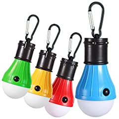 ※Multicolor Camping lights: The package including 4 different color camping lights,Orange, Blue, Red & Green, making camping,Hiking and fishing life colorful and wonderful,all 4 colors look funny and lovely. ※Portable Hanging LED Tent Bulb: One Carab...