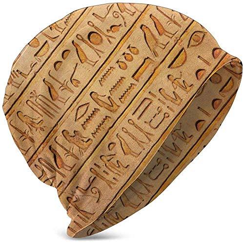 Gorros Unisex Gorros Egipto Jeroglífico Piedras Histórico Primitivo Slouchy Puño Calavera Sombrero De Punto Gorra Verano Cálido Sombreros De Esquí Snapback Negro