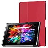 Case für Acer Iconia Tab 10 A3-A50 10.1 Zoll Schutzhülle Tablet Smart Cover Hülle mit Auto Sleep/Wake, Standfunktion & Touchpen Rot