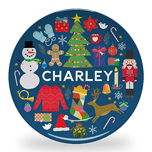 """Tiny Expressions - Personalized Modern Christmas Plate for Kids with Custom Name and Cute Christmas Themed Design 