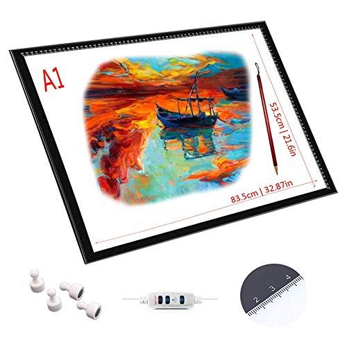 YYQQ Copiar La Tabla A4 A3 A2 A1 Copia De Tabla Juntas LED Dibujo Translúcido LED Brillo Ajustable Precisa,Función De Control Táctil con Memoria,Ultra-Delgado De Sólo 0,8 Cm De Espesor,A1