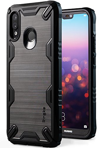 Ringke Onyx-X Compatible with Huawei P20 Lite, Impact Resistant Rugged TPU Grip Heavy Duty Protection Flexible Reinforced Combatant Stroked Line Anti Slip Huawei P20 Lite Case (2018) - Black