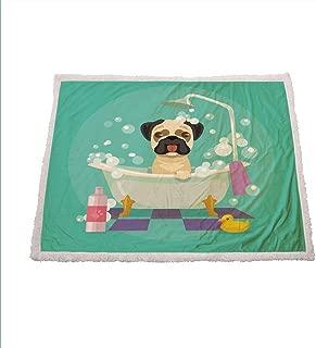 Miles Ralph Nursery Fluffy Blanket Pug Dog in Bathtub Grooming Salon Service Shampoo Rubber Duck Pets in Cartoon Style Image Fleece Throw 60