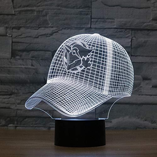 LWLHOUSE Durable Forma de la Tapa de béisbol 3D Lámpara de Mesa de luz LED de visión de LED, versión táctil USB