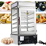 5 Layers Bun Steamer Commercial Electric Food Warmer Cooker Steamer Electric Food Display Automatic Temperature Control Display Stainless Steel Bun Steamer 1200W
