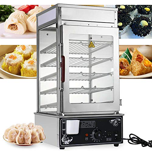 110V 1200W Commercial Bun Steamer, 5-Layer Restaurant Bun Warmer, 30-110℃/86-230℉ Bun Bread Steamer Machine