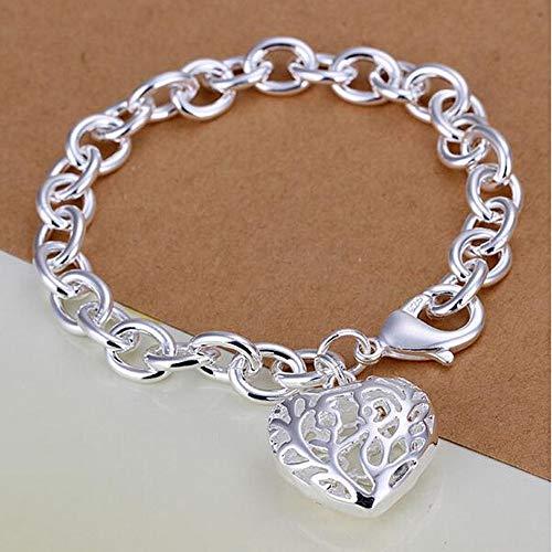 Yarmy Kupfer versilbert Gliederkette Silber Armband Armreif mit großen hohlen Herz Anhänger, einzigartige Damen Accessoires Armband zu gestalten S & Armreifen Liebe Leute