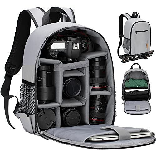 TARION Camera Backpack Waterproof Case Bag with Laptop Compartment and Rain Cover for DSLR SLR Camera Lens Flash Accessories (Grey)