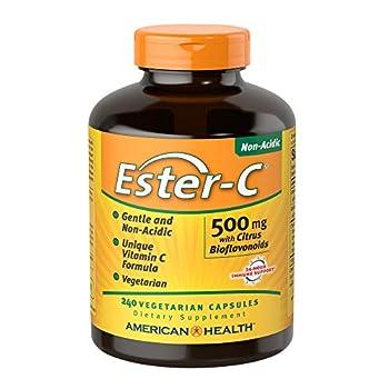 American Health EsterC with Bioflavonoids Vegetarian Capsules 24Hour Immune Support Gentle On Stomach NonAcidic Vitamin C NonGMO GlutenFree Vegan 500 mg 120 Servings Citrus 240 Count