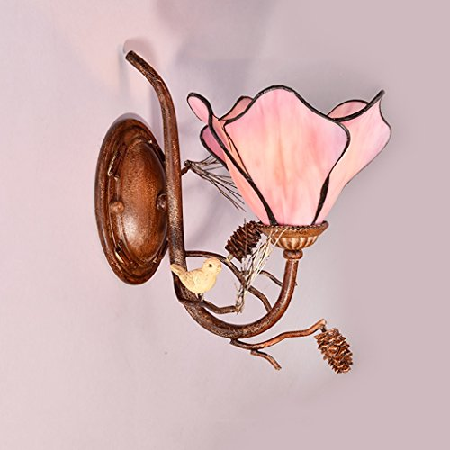 American Retro Style Fer Forgé Fleur Applique, Jardin Salon Chambre Chevet Créatif Murale Lumière Bar Café Club Restaurant Escaliers Lampes Murales, Verre Abat-Jour, E27 (Color : A)