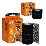 KT Tape Pro Wide, Precut Strip(10 Each), Black, 10 Inch (Pack of 10)