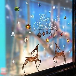 HCCY Adornos de Navidad, los escaparates de las tiendas de cristal creativas pegatina Sorok Muralla ventana adhesivo adhesivos puerta papel autoadhesivo carteles, Feliz Navidad, Rey