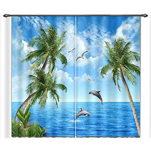 LB Ocean Window Curtains Drapes for Living Room Bedroom,Paradise Beach Scenery with Dolphin Plam Trees and Sea Water Teen Kids Room Decor 3D Blackout Curtains 2 Panels,28 by 65 inch Length