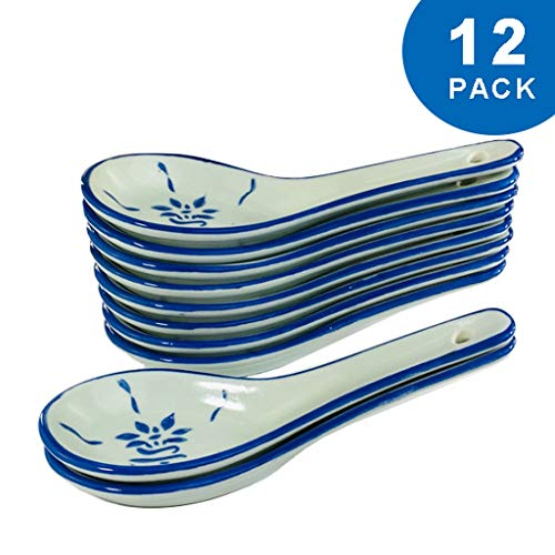 Xiaokeai Teaspoon Chinese Soup Spoons, Ceramic Spoons Soup Spoon Appetizer Spoon Set Blue Pattern Long 5.1',Set of 12 Convenient for daily use