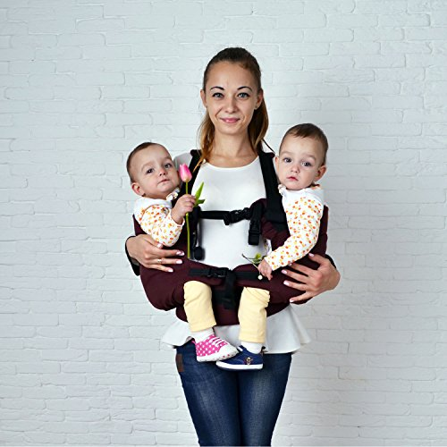 Product Image of the Malishastik Twin Baby Carrier Burgundy, Baby Twins, Twins Carrier, Baby Carrier...