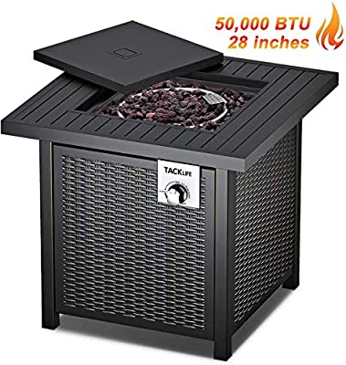 TACKLIFE Propane Fire Pit Table,Star Product, 28 Inch 50,000 BTU Auto-Ignition Gas Fire Pit Table with Cover, Intellective Control, ETL Certification,Table in Summer, Stove in Winter