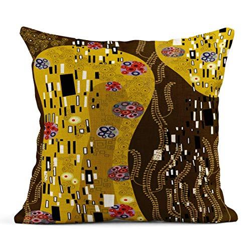 Cuscino di tiro Modello Viola Klimt Ispirato Astratto Bacio Giallo Floreale retrò Cuscino di Lino Nero Cuscino Decorativo per la casa