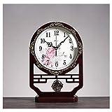 Relojes de Suelo Reloj de escritorio retro de madera Relojes Chinos Sala de estar Mute Creativo Reloj Adornos Desktop Home Sentado Reloj Fácil de leer Tiempo Escritorio Reloj rojo Relojes despertadore