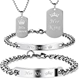 Lictin Partner Armbänder und Partner Halskette His Queen Her King Ketten und Armbänder Liebespaar Valentinstag Geschenke Geburtstagsgeschenk