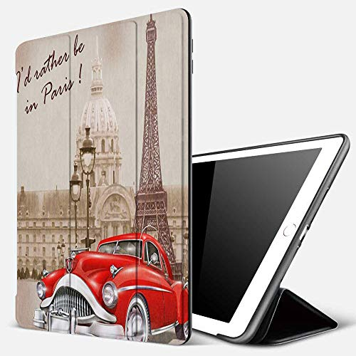 iPad 9.7 inch 2017/2018 Case/iPad Air/Air 2 Cover,France Paris Vintage Retro Background,PU Leather Shockproof Shell Stand Smart Cover with Auto Wake