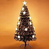 Árbol de Navidad verde oscuro con luces LED blancas cálidas Árbol de Navidad de PVC con 90 ramas Decoración navideña Fibra óptica antes de la cama Árbol de Navidad artificial-Verde 90cm / 3f