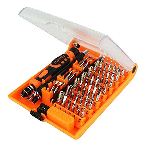 asx Juego de destornilladores profesionales 52 en 1 para reparación de relojes, teléfonos PC, mantenimiento electrónico, accesorios nacionales (color: amarillo)