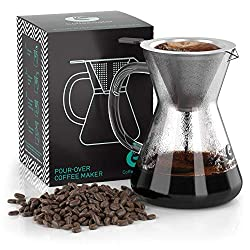 Pour Over Coffee Maker - Great Coffee Made Simple - 3 Cup Hand Drip Coffee Maker With Stainless Steel Filter - No Paper Filters Needed - By Coffee Gator