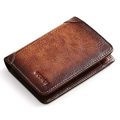 BAIGIO Portafoglio Uomo Bifold Portafoglio RFID con Cerniera Portafoglio con Zip in Pelle (Marrone)