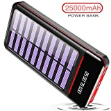 RLERON Batterie Externe 25000mAh Solaire Power Bank Chargeur LCD Display 3 Ports USB...