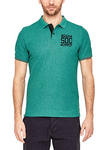 s.Oliver Herren 13.803.35.5449 Poloshirt, Grün (Cold Green Melange 76w0), XX-Large