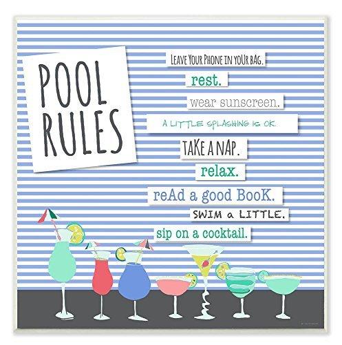 Norma Lily Home Décor Pool Rules typog und Symbole Wandschild Art, 12x 12Holzschild Holz Decor.