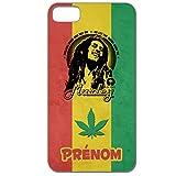 Yonacrea - Coque 3D téléphone Iphone 5C - Bob Marley Rasta - avec prénom personnalisé