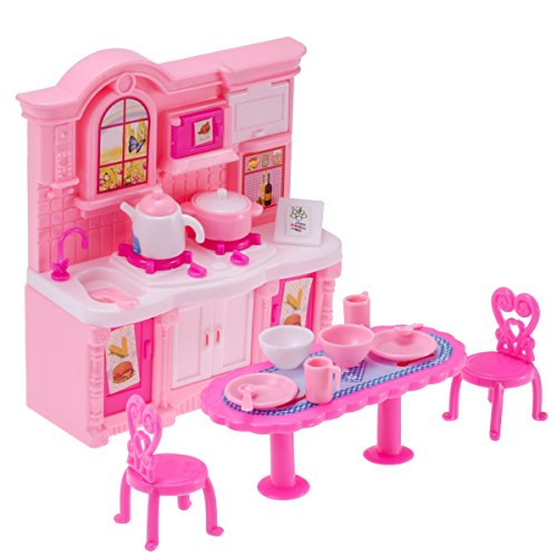 26pcs Doll Kitchen Accessories Dining Table Chairs Dinnerware Cabinet Doll Accessories Tableware Mini Furnitures For Barbie Doll Buy Online In Bahrain At Desertcart