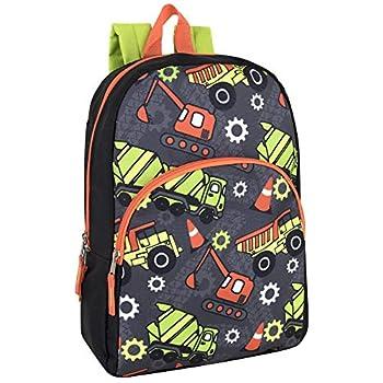 "Trail maker Kids Character Backpacks for Boys & Girls  15""  with Adjustable Padded Back Straps  Trucks"