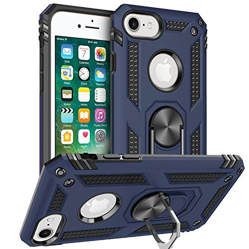 Pegoo Custodia iPhone 6, Ultra Slim armatura antiurto Copertura Cassa Custodia Silicone cover Case supporto stabile Protettiva Shell per apple iphone 8 7 6 6S (Blu Scuro)