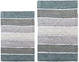 Chardin Home Cordural Stripes Bath Mat, Set of 2 Bath Rugs (17 Inches x24 Inches & 21 Inches x34 Inches)   Non Slip Bathroom Rug, Machine Washable, Plush, Highly Absorbent   Bluish Gray- Beige