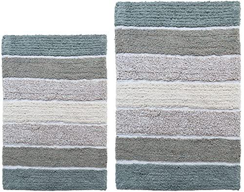 Chardin Home - 100% Pure Cotton - 2 Piece Cordural Stripe Bath Rug Set, (21''x34'' & 17''x24'') Bluish Gray-Beige with Latex Spray Non-Skid Backing, Machine Washable