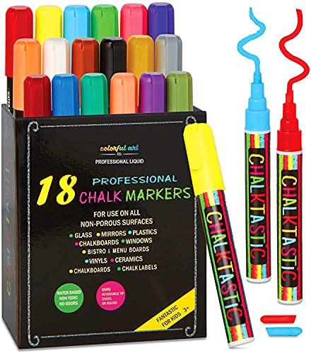 Chalktastic Liquid Chalk Markers for Blackboard Signs - Set of 18 Neon, Dry Erase Pens w/ Chisel or Fine Tip - Washable Chalk Marker Works on Chalkboard, Bistro Menu & Car Window Glass