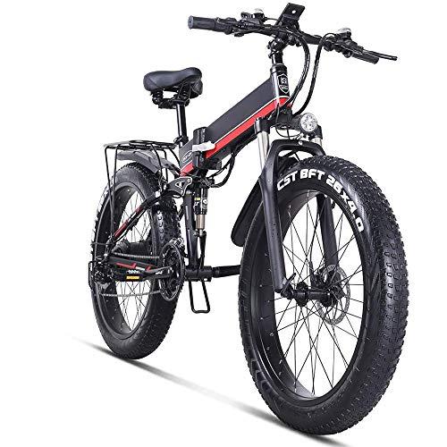 COKECO Bicicleta Eléctrica Plegables,Bicicleta Eléctrica 26 Pulgadas Plegable Neumático Gordo 12.8Ah Batería De Litio 1000W 21 Velocidades 4.0 Neumático Gordo Moto De Nieve Eléctrica