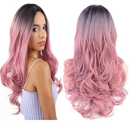 Lovbite Pink Wig Synthetic Hair Wigs Wavy Ombre Black To Pink Long Natural Wavy Pink Ombre Wig For Women Heat Resistant Synthetic Hair Weave Cosplay Part Wigs(Ombre Pink)