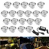 20er Set Terrassen Einbaustrahler LED Bodeneinbauleuchten Warmes Weiß Aussen Ø45mm Treppen Einbauleuchte IP67 Wasserdicht Boden Lampe für Außenterrasse Garten Gehweg Küche Balkon