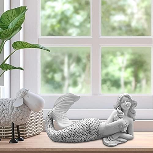Estatuas de resina de 17 cm, estatuas al aire libre, decoración de la estatua del jardín de la sirena, decoración de la pared de la escultura de