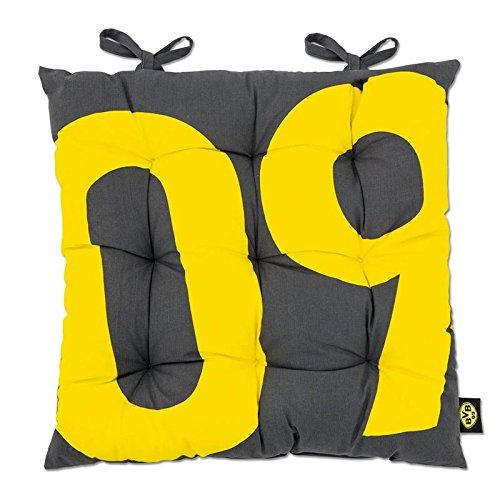Borussia Dortmund BVB 17820400 Sitzkissen für Gartenmöbel, Grau/gelb, 38 x 38 x 3 cm