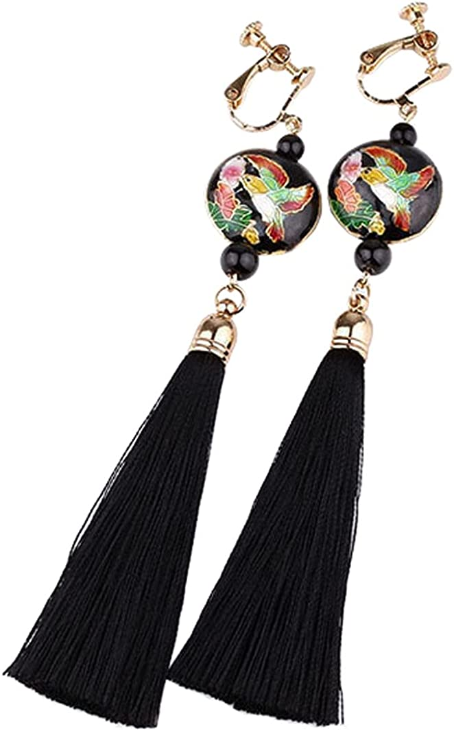 Non Pierced Bird Beads Dangle Clip on Earrings for Women Girl Gift Enamel Red Beaded Drop and Bohemian Long Thread Tiered Tassel Fringe Handmade Gold Plated Hand Painted Jewelry
